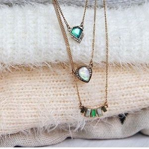 Layered Green Pendant Necklace